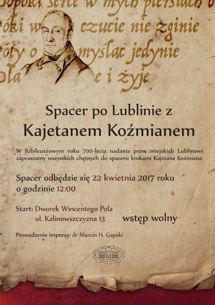 Plakat Spacer po Lublinie z Kajetanem Koźmianem