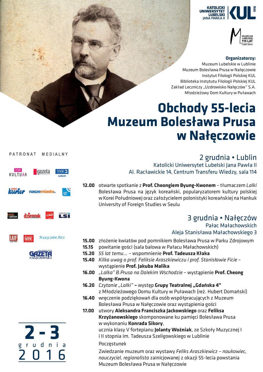 Plakat obchodów 55-lecia Muzeum Bolesława Prusa w Nałęczowie z programem