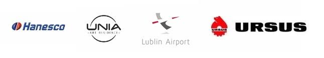 Logotypy: Hanesco, Unia, Lublin Airport, Ursus