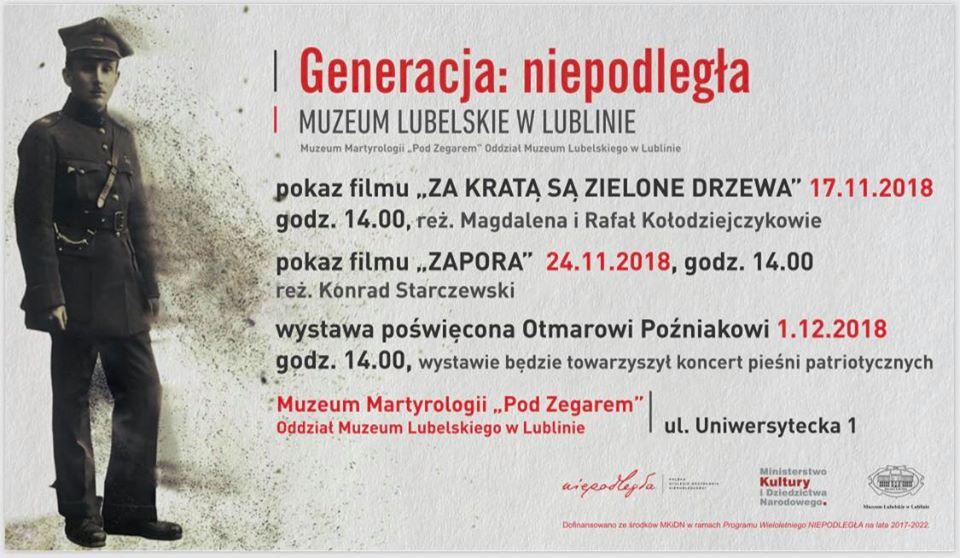 Plakat z programem wydarzenia Generacja: niepodległa. Z lewej strony postać żołnierza.