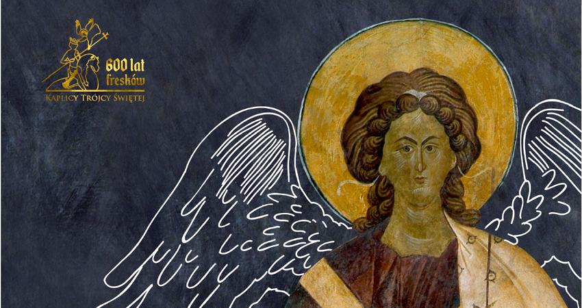 Z lewej strony logo i napis 600 lat fresków Kaplicy Trójcy Świętej. Z prawej popiersie Anioła ze złotą aureolą z fresków z Kaplicy Trójcy Świętej na Zamku Lubelskim. Granatowe tło.