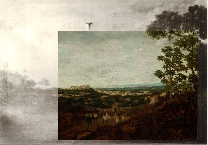 Obraz przedstawiający pejzaż. Zaznaczony wycięty fragment obrazu - wokół niego mniej wyraźne fragmenty. Na pierwszym planie niewielkie postaci ludzkie. W tle widok miasta. Po prawej stronie drzewa. Większą część obrazu zajmuje zachmurzone niebo.