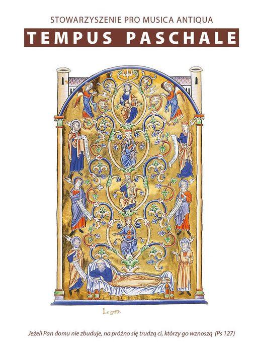 Grafika z napisem: Stowarzyszenie Pro Musica Antiqua Tempus Paschale, poniżej średniowieczna ilustracja z motywem Drzewa Życia
