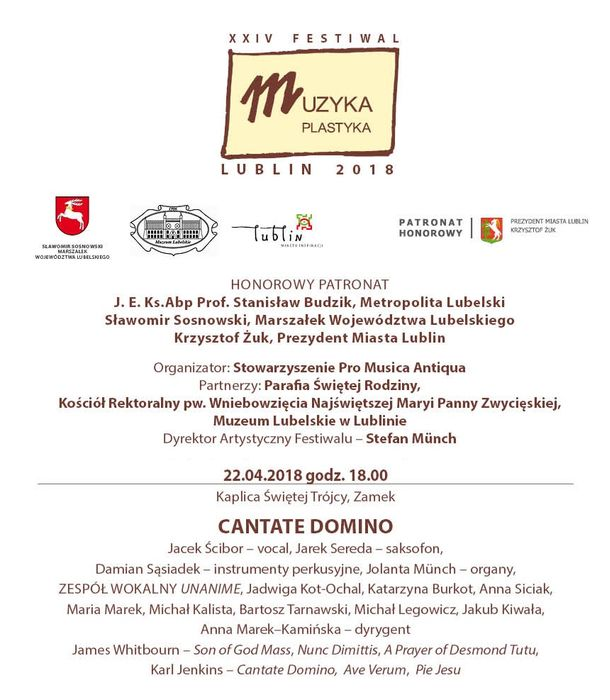 Plakat XXIV Festiwalu Muzyka Plastyka Lublin 2016