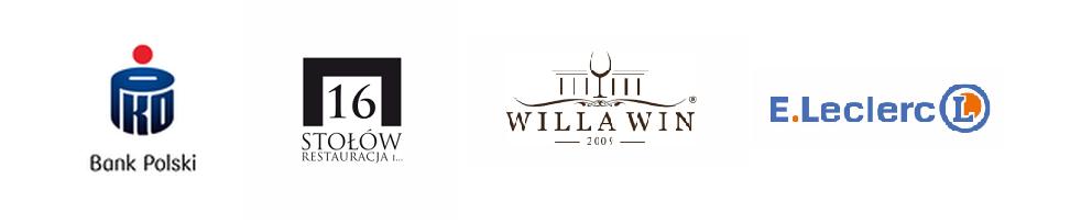Logotypy: Bank Polski, 16 stołów, Willa Win. E.Leclerc