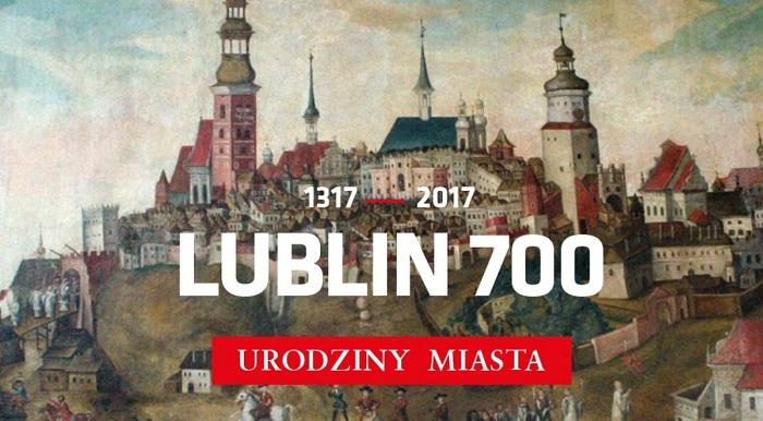 Grafika z panoramą Lublina, w centrum napis: 1317-2017 Lublin 700, Urodziny Miasta
