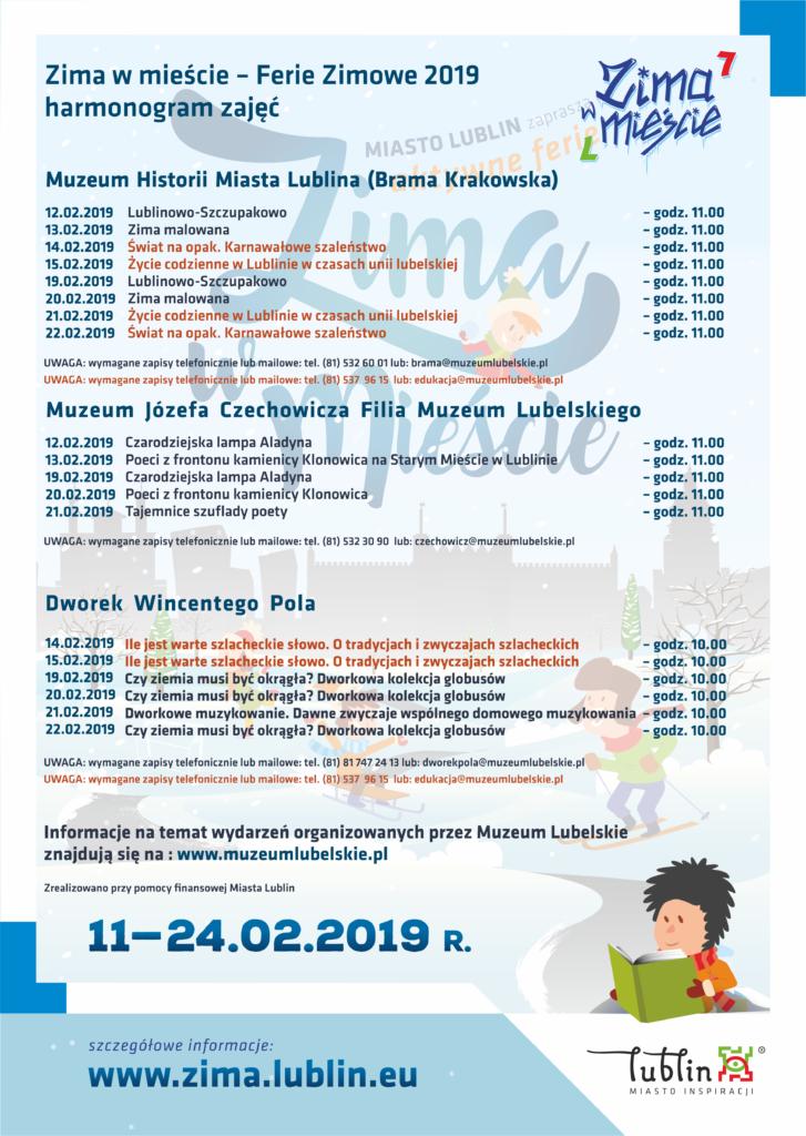Plakat z programem akcji Zima w Mieście.
